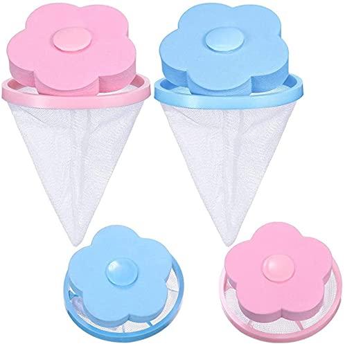 TAMETZONA Bolsas filtro de pelos para lavadora reutilizable atrapador de pelusa y pelo, quitapelo mascotas para lavandería azul y rosa Pack 4 unidades