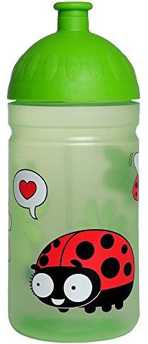 ISYbe Original Marken-Trink-Flasche für Klein-Kinder, 500 ml, BPA-frei, Marienkäfer-Motiv für Mädchen & Jungen, für Schule-Reisen-Kita-Kiga-Outdoor, Auslaufsicher auch mit Sprudel, Spülmaschine-fest