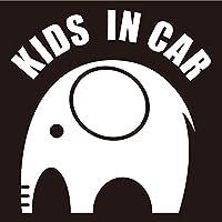 imoninn KIDS in car ステッカー 【シンプル版】 No.01 ゾウさん (白色)