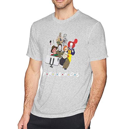 Friends Horror Team Scary Movies.Webp Men's Graphic Cotton Short Sleeve T-Shirt Gray Medium