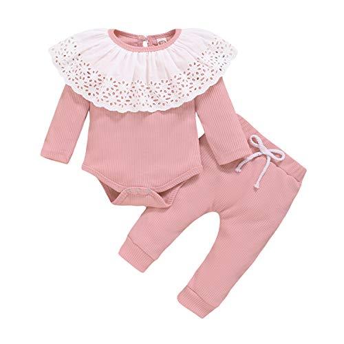 LUCSUN - Pantalones de encaje de manga larga para niña con volantes y cintura elástica con cordón de 2 piezas