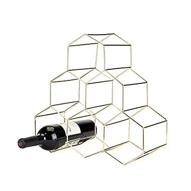 Viski 5213 Belmont Geo Wine Rack Freestanding Cabinets, Gold