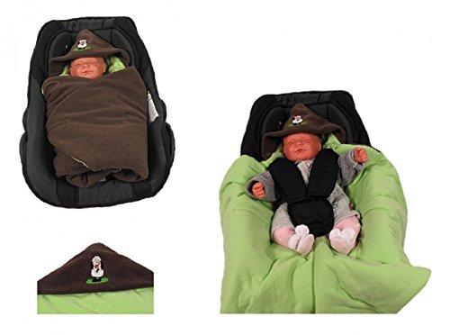 HOBEA-Germany Fußsack Einschlagdecke für die Babyschale Babyschalenfußsack, Farben Winterdecken, braun grün