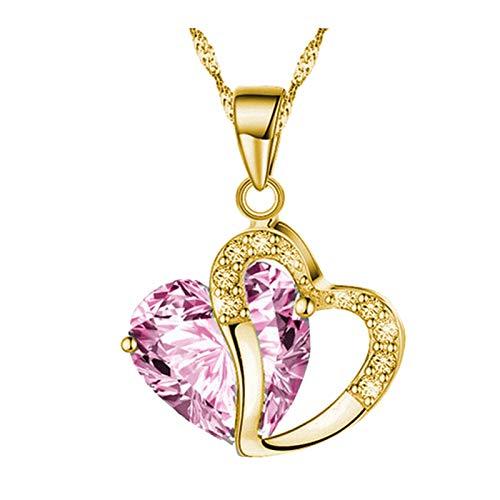 Collar con colgante de corazón para mujer, con cristales de estrás y cadena de oro, hecho a mano, colgante de bloqueo de amor, regalo de San Valentín, aniversario