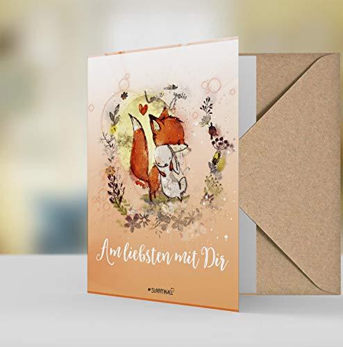Geschenkkarte Grußkarte - Fuchs & Hase - Am liebsten mit Dir