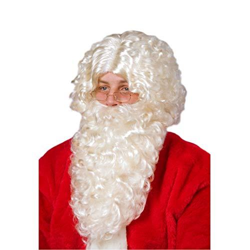 Święty Mikołaj zestaw do brody i peruki, naturalny, Made in Germany, kostium Mikołaja, Boże Narodzenie, karnawał