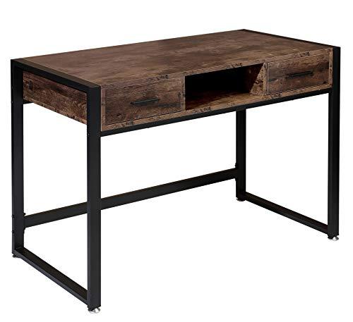 BOTONE Mesa de escritorio con dos cajones y estante en diseño industrial,mesa de ordenador con estructura de metal,mesa de trabajo para oficina,mesa rústica,vintage,patas ajustables(110 x 50 x 75 cm)