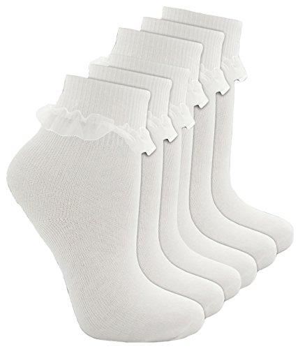 cottonique Girls De Algodn Con Volantes Top De Encaje Calcetines, Mehrfarbig - 6 White, Large