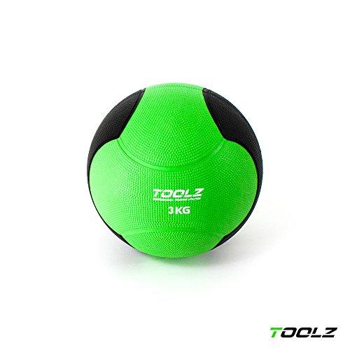 TOOLZ Medizinball 3kg Fitnessball aus Gummi Gymnastikball mit griffiger Oberfläche – optimal für Krafttraining
