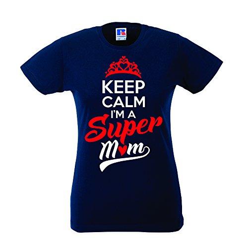Babloo T-Shirt Mother's Day Donna Idea Regalo Festa della Mamma Keep Calma I'm a Super Mom Blu M