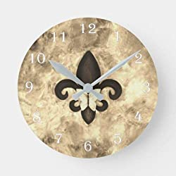 daoyiqi 12 Inch Wall Clock, Fleur-De-Lis Decor   Sepia Beige Brown Butterfly Round Clock, Silent Non Ticking Quality Quartz Wood Clock for Bedroom, Living Room Home Decor