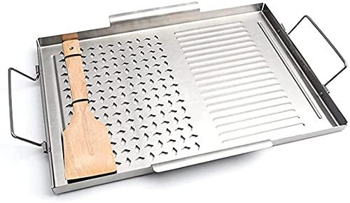 AACXRCR Edelstahl Grill Pan Non-Stick BBQ Pan Square Grill Platte Outdoor Picknick Kochwerkzeuge Grillgeräte