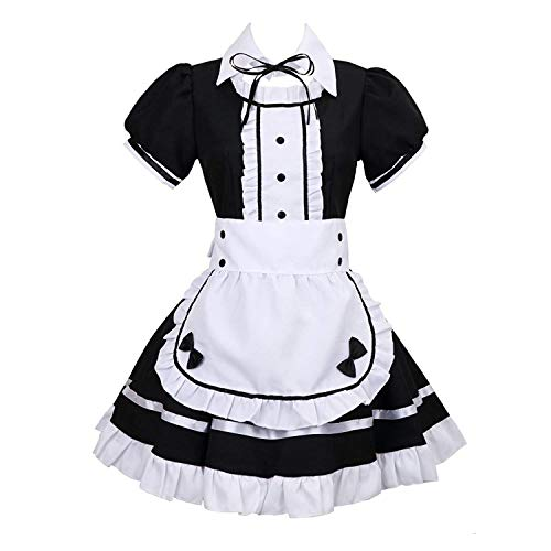 Lolita French Maid,Hausmädchen-Kostüm,Französisches Dienstmädchen-Kostüm, Kurzarm,Cosplay Kostüm,4 PCS als Set inkl. Kleid;mit weißer Schürze und Kopfbedeckung,Fake Halsband (Schwarz,Größe: XXXL)