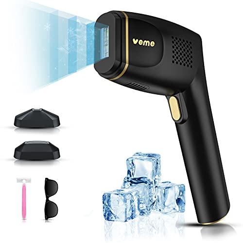 VEME Eiskühlung IPL Geräte Haarentfernung für Frauen Männer, Dauerhafte Schmerzlose Saphir Laser Haarentfernungsgerät 500000 Blitze zu Hause für Gesicht Bikini Achsel Beine - 2 Modi, 5 Stufen