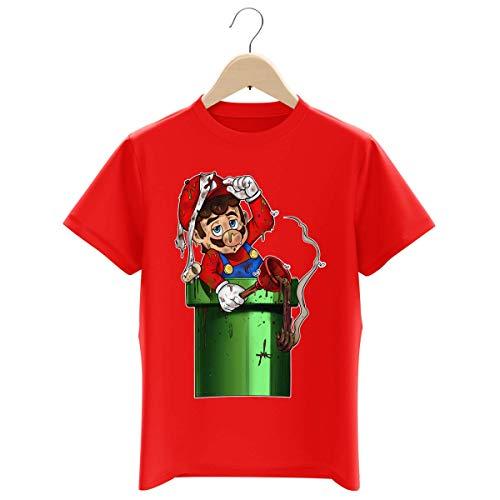 Okiwoki - Maglietta da bambino con scritta 'Parodie Super Mario', con scritta in francese 'Mario Encore Bimbo' rosso 7-8 Anni