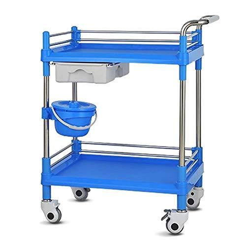 Allamp Sombrilla herramienta ABS móvil del salón de belleza Carro con cajón, médico duradero del balanceo de la carretilla con tierra Cubo, Heavy-Duty Caster con freno, azul (color: S-54 × 37 × 90 cm)
