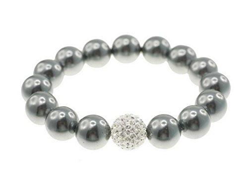 Muschelkernperlen Armband, 12mm Perle, elastisch 19-20cm, mit glitzernder Diamond-Strasskugel crystal, dkl.grau
