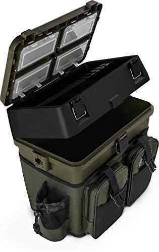 normani Sitzkiepe Angelobox Angel-Sitzbox Angelrucksack Angeltasche Angelkoffer Angler-Gerätekasten mit 4 Tackle Boxen Farbe Gruen