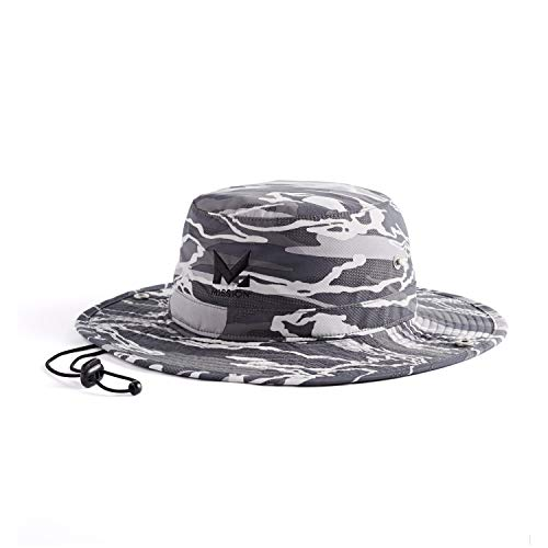 """Mission Cooling Bucket Hat- UPF 50, 3"""" Wide Brim, Cools When Wet- Matrix Camo Silver"""