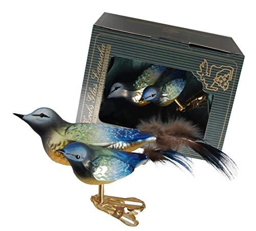 Krebs Glas Lauscha - vogels op clip - verschillende soorten - kerstboomversiering - glazen sieraden - met veren - Made in Germany