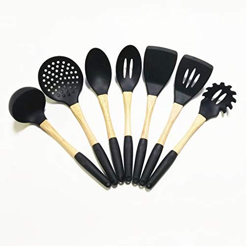 JYDQM Set de Herramientas de Cocina Conjunto Utensilios de Cocina Set Turner Soup Soup Schoon Strainer Pasta Sirvedor Cuchara (Color : Black)