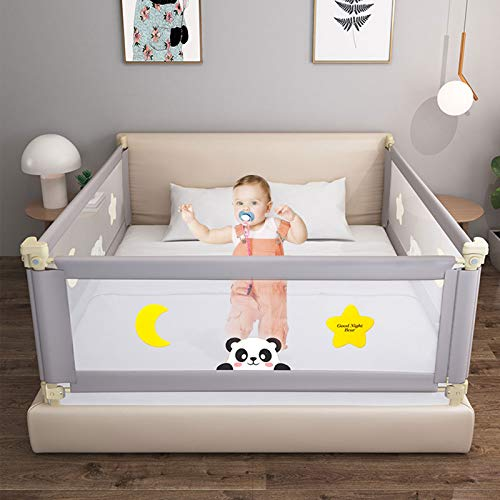 Bed Rails for Toddlers, 1.8m Extra Long Toddler Bed Rail Guard for Kids Twin, Baby Bed Rails for Queen Bed, 24 Gears Adjustable Folding (Gray, 1 Side Only)