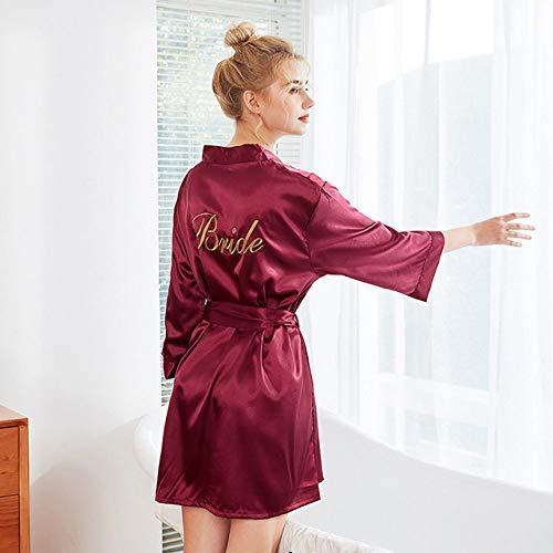 YPDM badjas zomer, roze robe gouden letter Kimono gepersonaliseerde zijdepijama's bruiloft bruidsmeisjes zus moeder van de bruid roben