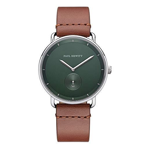 PAUL HEWITT Armbanduhr Männer Edelstahl Breakwater Forest Green - Herren Uhr Lederarmband (Braun), Silberne Herren Armbanduhr, grünes Ziffernblatt