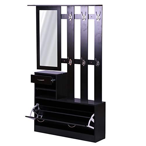 HOMCOM Ensemble de Meubles dentrée Design Contemporain : Meuble Chaussures, Miroir et Panneau Porte-Manteau Panneaux de Particules Noir