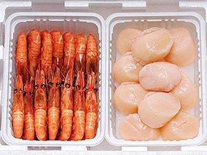 甘えび&帆立セット 美味しい甘エビと、新鮮なほたてを急速冷凍。甘海老・ホタテは自然解凍後そのままお刺身としてお楽しみいただけます。