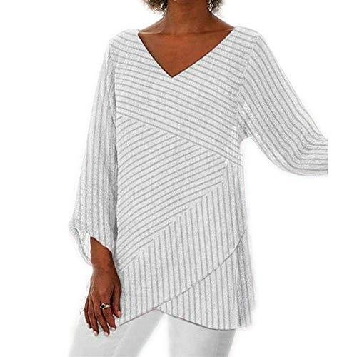 Einfarbiges Kreuzstreifen-Damen-Langarm-Top-T-Shirt im Herbststil mit V-Ausschnitt