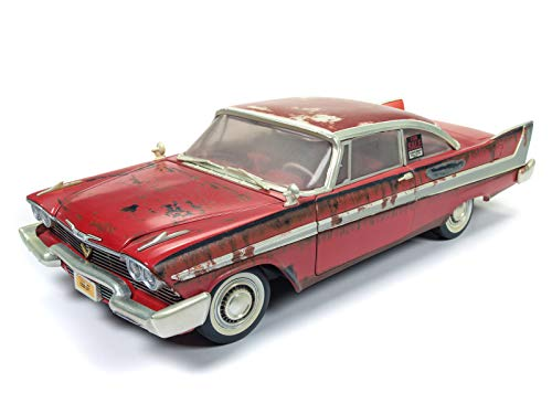 Auto World - Christine 1958 Plymouth Fury in Red - Dirty Version - 1/18 Scale Die Cast Collectible Model Muscle Car for Kids and Adults -  Round 2, AWSS119