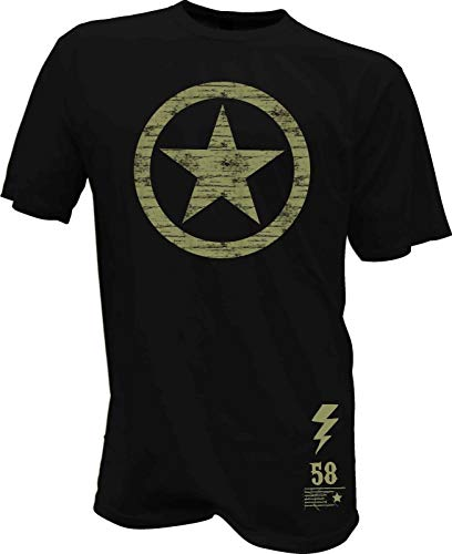 T-Shirt Stern USA Army Biker Hot Rod Bike Pilot Vintage Retro Oldscool Flieger