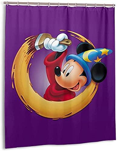 Duschvorhang mit Maus-Cartoon-Motiv, Micky, Minnie, Badezimmer, Dekoration, exquisit, schimmelresistent, wasserdicht, extra lang, mit 12 Haken