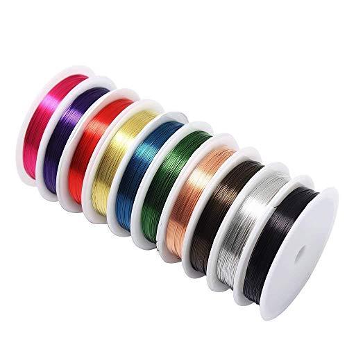 byou Rotoli di Filo di Rame,Filo Cavi di Rame 10 Pezzi 0.3 mm Colori Misto Morbido Filo di Rame Antiossidante per Creazione di Gioielli e Craft