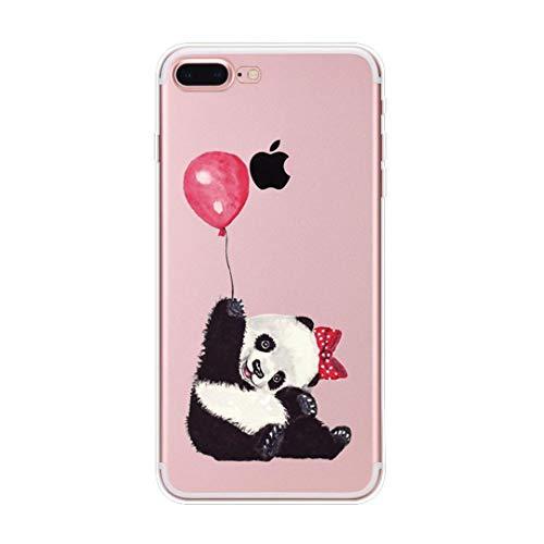 Coque iPhone 7 Plus, Coque iPhone 8 Plus Élégant Panda Housse de Protection Case Transparente Silicone TPU Anti-Rayures Anti Choc Housse Étui pour Apple iPhone 7 iPhone 8 Case (iPhone 7 8 Plus, 1)