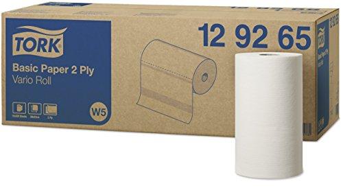 Tork 129265 Standard Papierwischtücher für W5 Kleinrollen-System / 2-lagige, starke Papiertücher in Weiß/Universal Qualität / 10 x 55 m