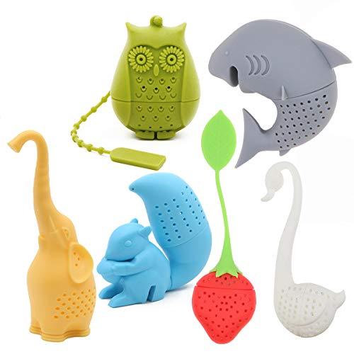 Juego de 6 coladores de té de silicona ecológicos con diseño de elefante, tiburón, cisne, ardilla, fresa, búho, té, regalo para amantes del té