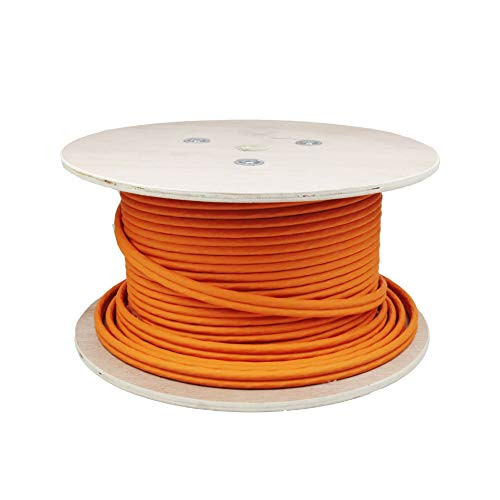 LW Connect Duplex Highquality Gigabit Netzwerkkabel S/FTP PIMF 1000 MHz Cat7 4x2xAWG23 LSZH Geschirmtes Installationskabel 100m Orange
