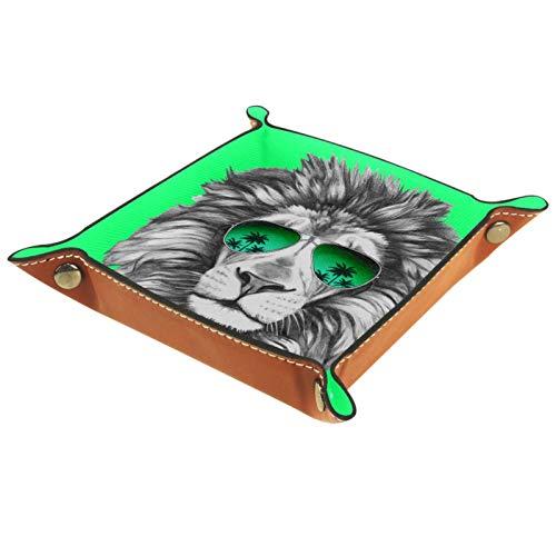 MEITD Diener Tablett, PU-Leder Tablett, Catchall-Tray, Herren Damen Schmuck Schlüsselablage handgezeichnetes Porträt von Löwe mit Sonnenbrille