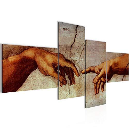 Runa Art Pintura Mural Sala Creación De Adam Michelangelo 4 Piezas - Made in Germany - 700145a