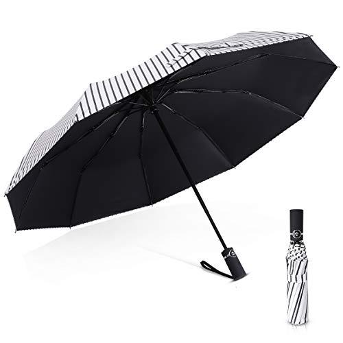DORRISO Mujer Hombres Vogue Parasol Paraguas Plegable Automático Compacto Antiviento Impermeable Anti-UV...