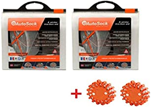 AutoSock AS685 Traction Wheel and Tire Cover for Ice & Snow Easy Install Tire Chain Alternative (2 Sets) with 2 Emergency Safety Flare