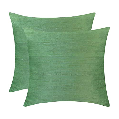 Light Green Throw Pillows (Set of 2 Covers, Faux Raw Silk, Light Green, 12X12 inches)