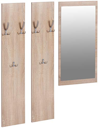 ts-ideen Set Garderobe Spiegel + 2 Wandpaneele Flurgarderobe Kleiderhaken Eiche Sonoma Hell Braun Holz