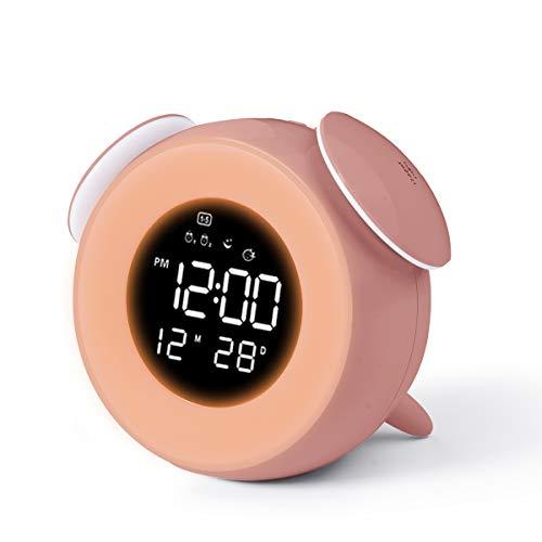 HOMVILLA Reloj Despertador Niña, Despertadores Digital Infantil para Alarmas Dobles, Relojes Infantiles, Despertadores Alarma Mesilla de Noche con Función de Control Táctil de Repetición 25 Sonidos