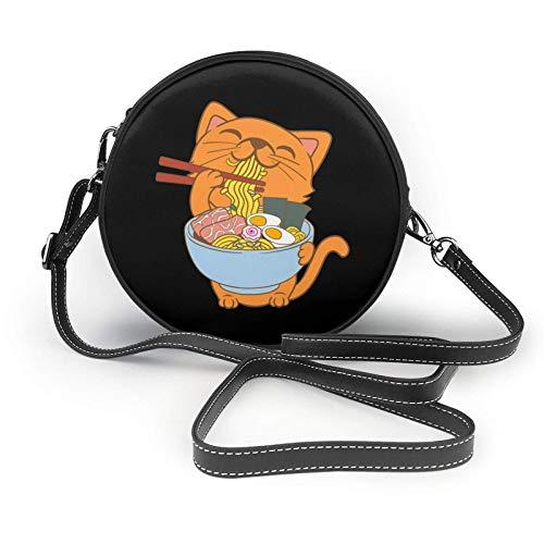 Teller mit Nudeln und lustigen Katzen. Schulterledertasche, kleine Umhängetasche, ultraleichte Geldbörse, waschbare Umhängetasche, für Frauen