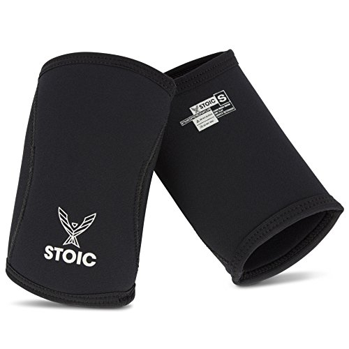 Elbow Sleeves for Powerlifting - 7mm + 5mm Thick Neoprene Sleeve for Bodybuilding, Weight Lifting Best for Squats, Cross Training, Strongman Professional Quality & Ultra Heavy Duty (Pair) by Stoic