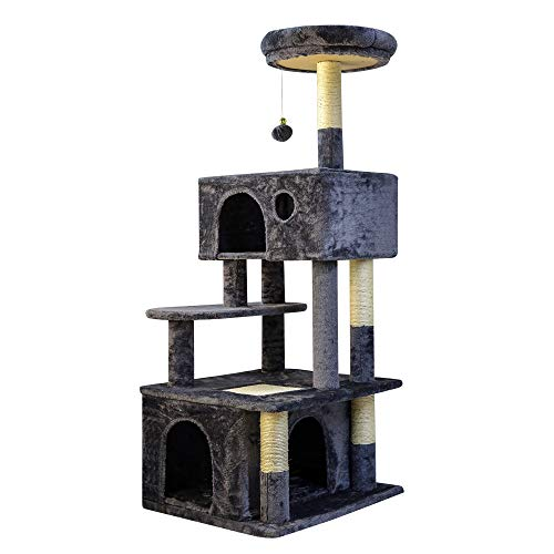 OTLIVE Newly Designed Cat Tree Condo, 51'' Multi-Level Large Cat Activity Tree with Widened Perch, Cat Scratching Post and Big Cat House