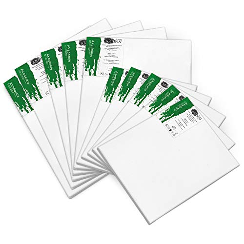 Artina Akademie FSC Keilrahmen 10er Set Leinwände 5 x 40x50 cm & 5 x 30x40 cm- Leinwand weiß aus 100% Baumwolle Leinwand 280g/m² - Keilrahmen verzugsfrei